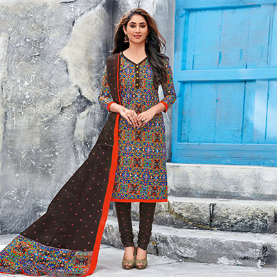 Brown Colored Casual Wear Printed Jetpur Cotton Dress Material