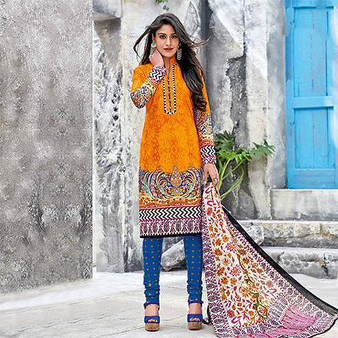 Orange-Blue Colored Casual Wear Printed Jetpur Cotton Dress Material