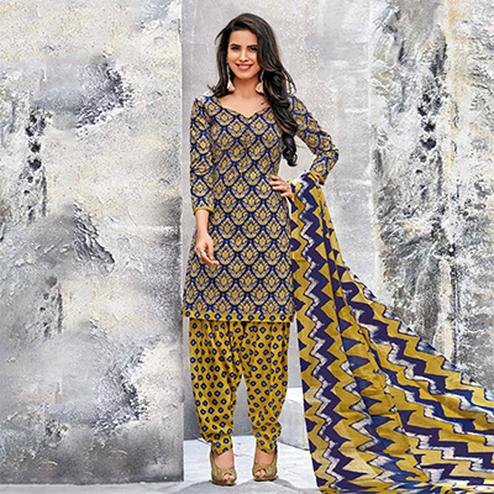 Dark Blue-Yellow Colored Casual Wear Printed Jetpur Cotton Dress Material