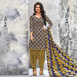 Dark Blue-Yellow Colored Casual Wear Printed Cotton Dress Material