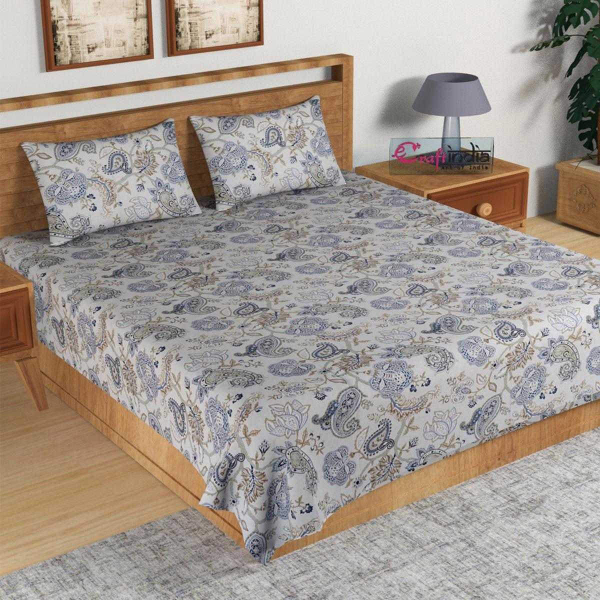 eCraftIndia - 210 TC Pure Cotton Premium Double Bed King Size Ethnic Motifs Design Bedsheet (100 In x 108 In) with 2 pillow cover - Blue