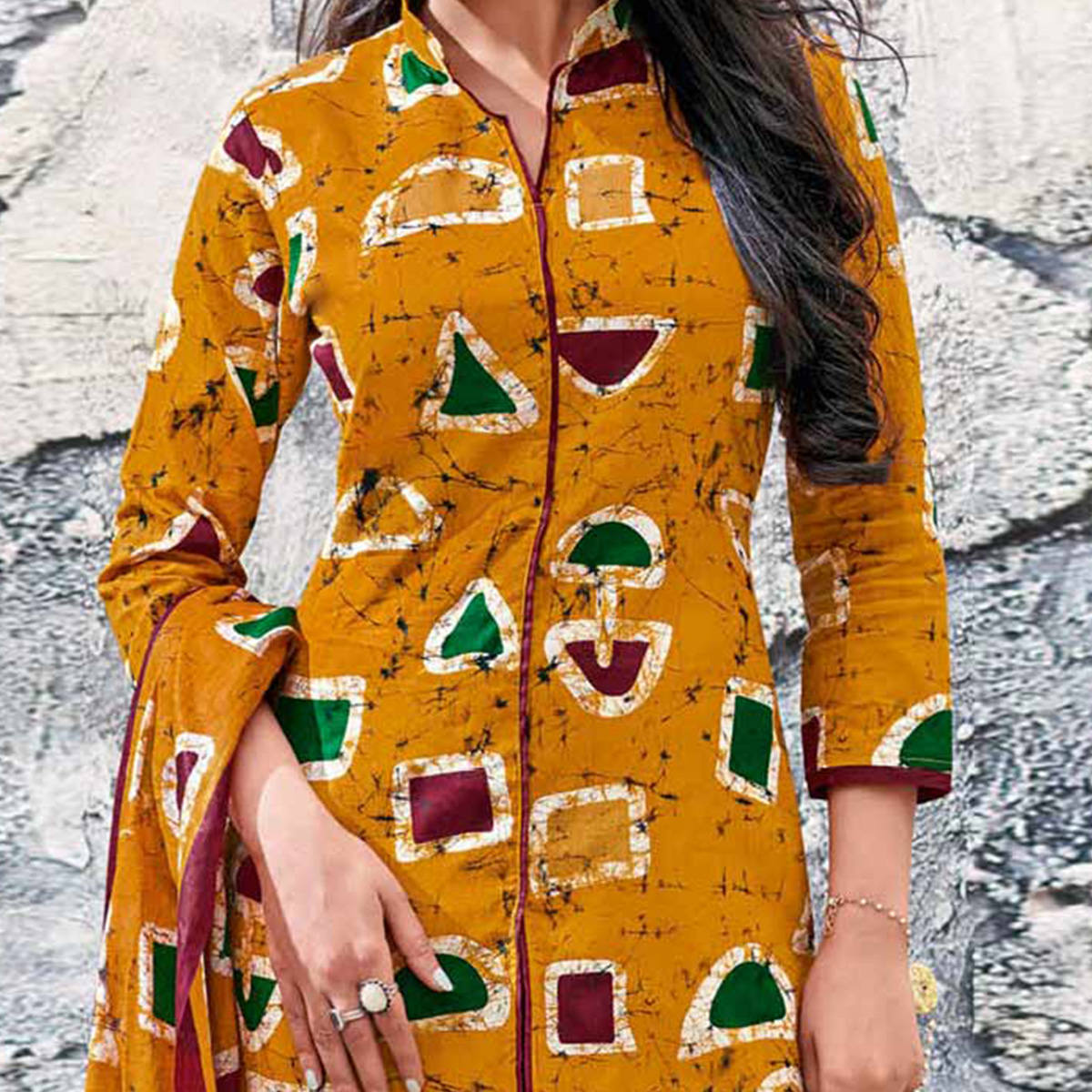 Mustard Yellow-Maroon Colored Casual Wear Printed Jetpur Cotton Dress Material