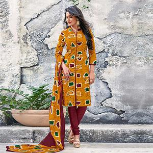 Mustard Yellow-Maroon Colored Casual Wear Printed Cotton Dress Material