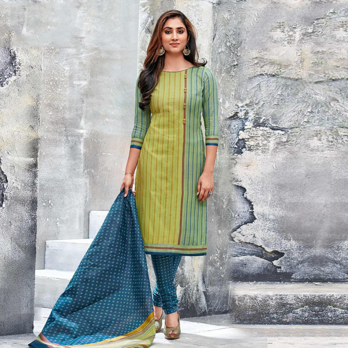 Green Colored Casual Wear Printed Jetpur Cotton Dress Material