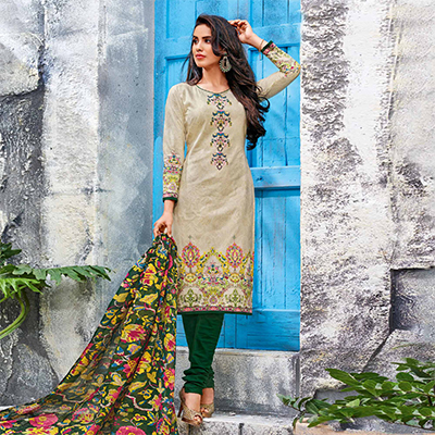 Beige-Green Colored Casual Wear Printed Jetpur Cotton Dress Material