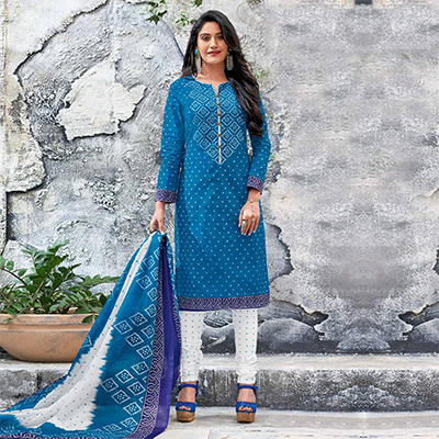 Blue-White Colored Casual Wear Printed Jetpur Cotton Dress Material