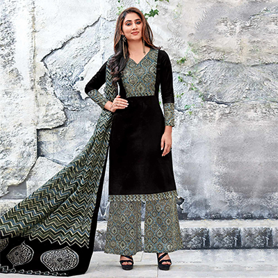 Black Colored Casual Wear Printed Jetpur Cotton Dress Material