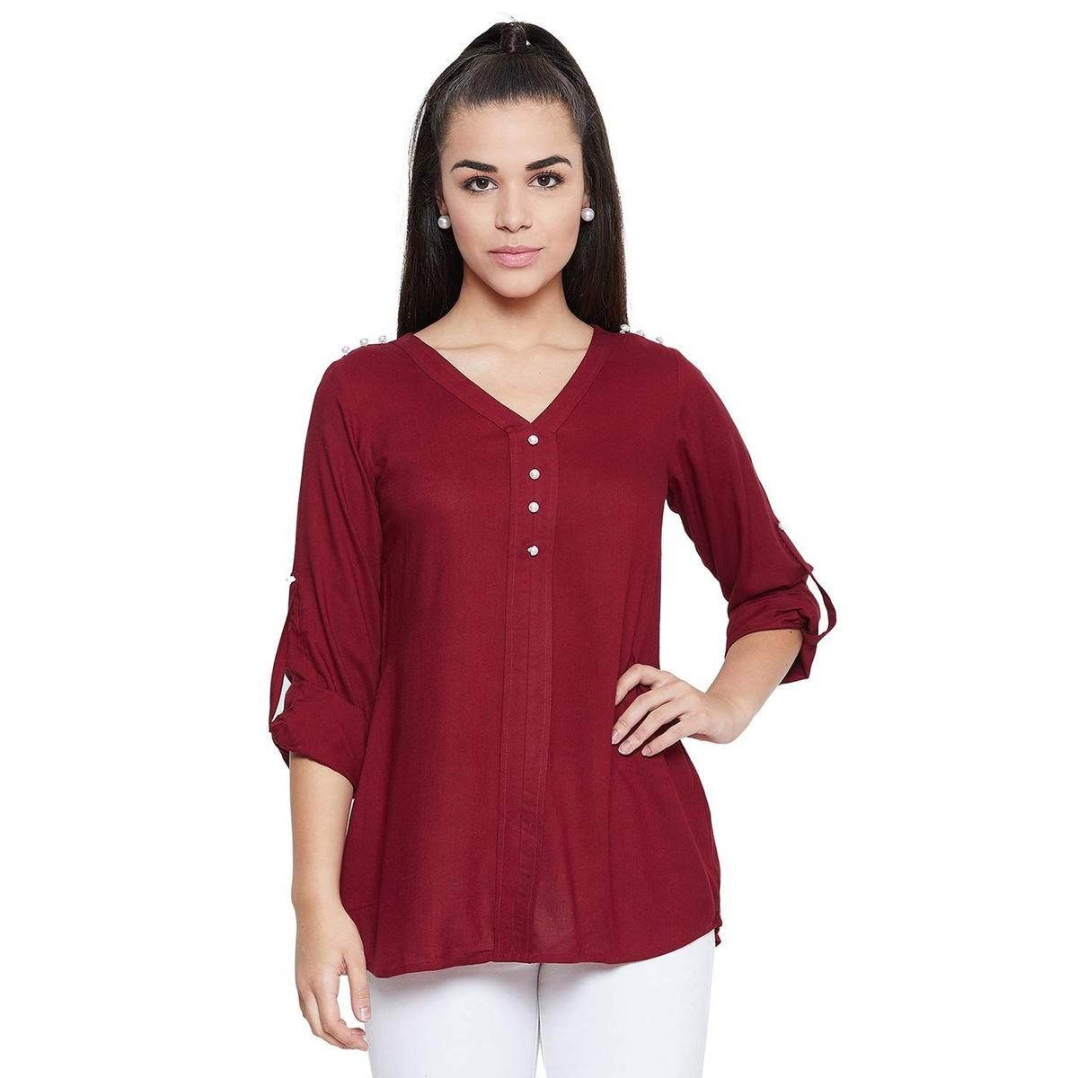 Toshee - Women's Maroon Color Plain Rayon Top