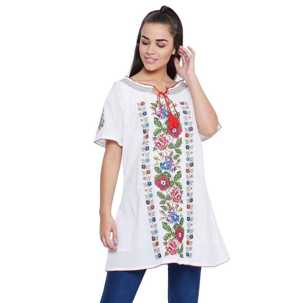 Toshee - Women's White Color Embroidered Off Shoulder Cotton Tunic