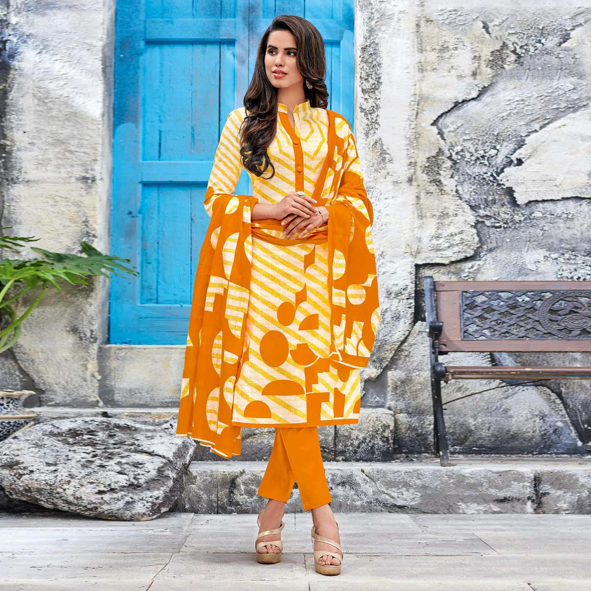 Ocher Yellow Colored Casual Wear Printed Jetpur Cotton Dress Material