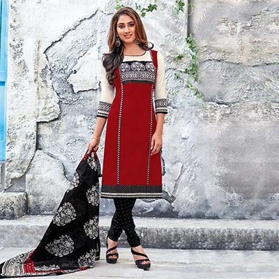 Maroon-Black Colored Casual Wear Printed Jetpur Cotton Dress Material