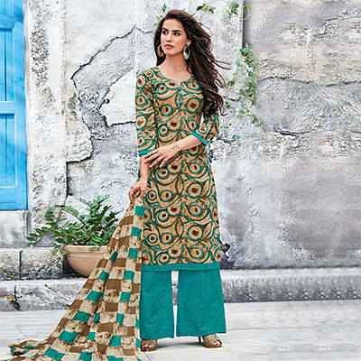 Beige-Turquoise Blue Colored Casual Wear Printed Jetpur Cotton Dress Material