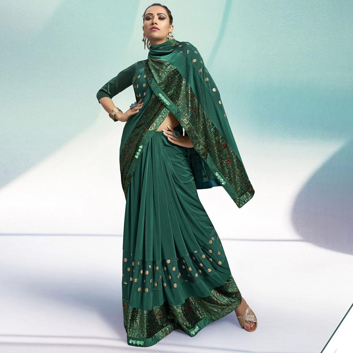 Triveni Green Colored Velvet Party Wear Printed Saree With Blouse Piece