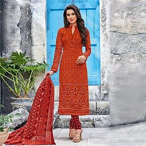 Rust-Maroon Colored Casual Wear Printed Jetpur Cotton Dress Material
