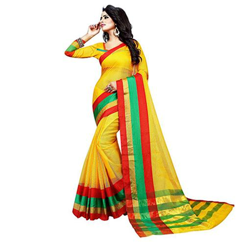 Stunning Yellow Colored Festive Wear Woven Kota Doria Silk Saree