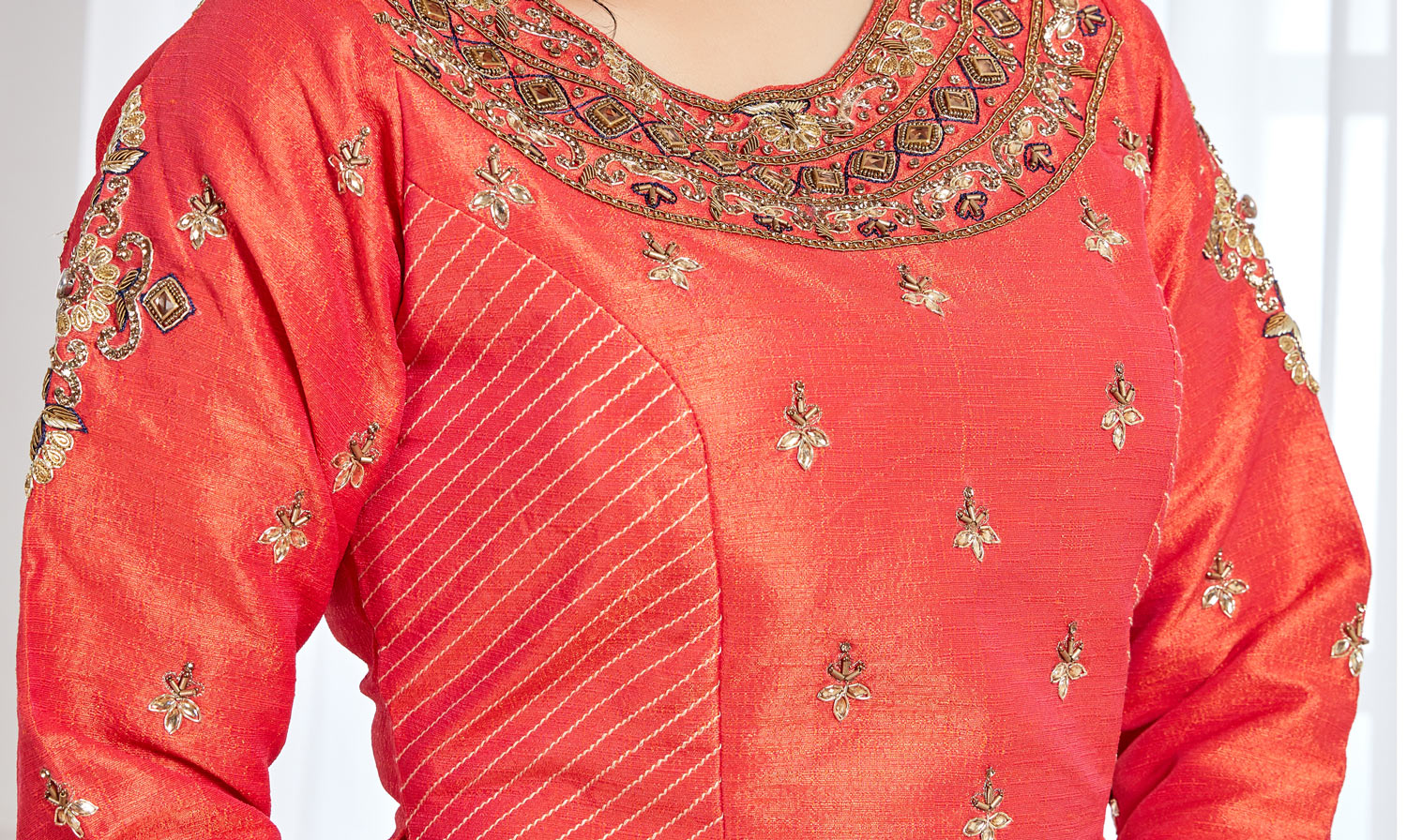 Embellished Orange Colored Lehenga Choli