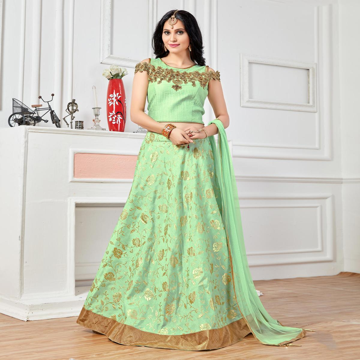 Elegant Art Silk Pista Colored Lehenga Choli