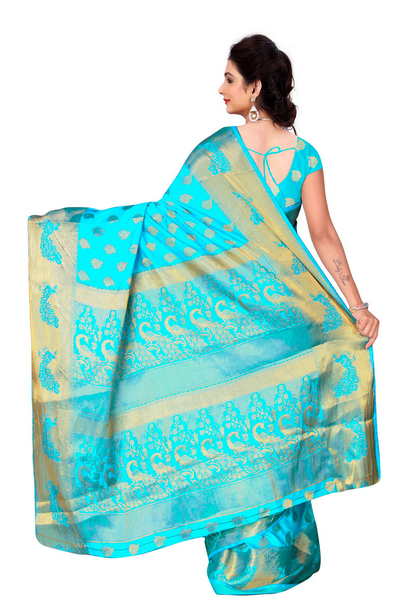Firozi Weaving Work Banarasi Silk Saree
