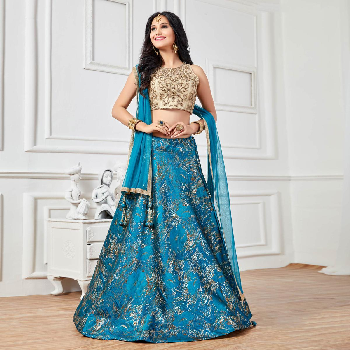 e0bff74ee7 Buy Charismatic Blue Colored Lehenga Choli for womens online India, Best  Prices, Reviews - Peachmode
