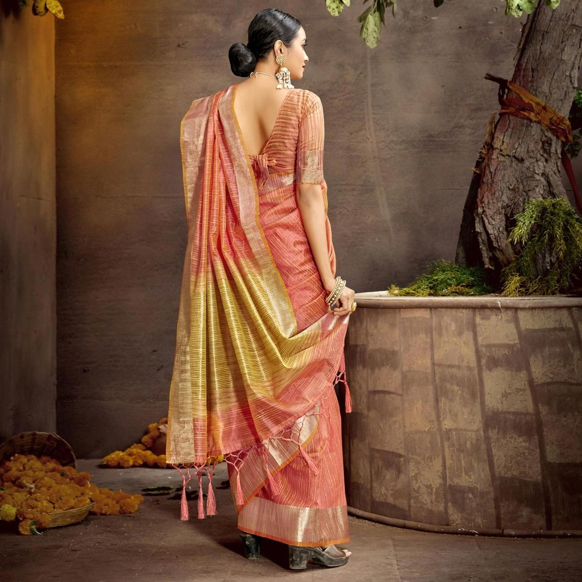 Triveni Peach Colored Cotton Party Wear Solid Saree With Blouse Piece