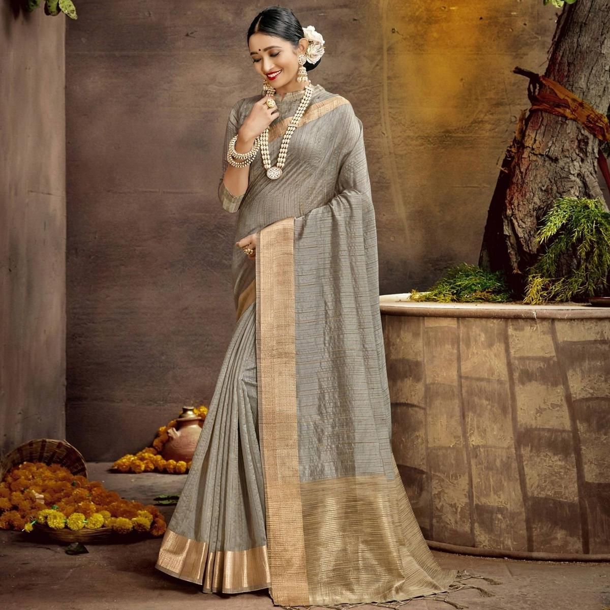 Triveni Grey Colored Cotton Party Wear Solid Saree With Blouse Piece