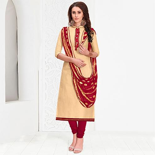 Captivating Beige Colored Casual Cotton Suit