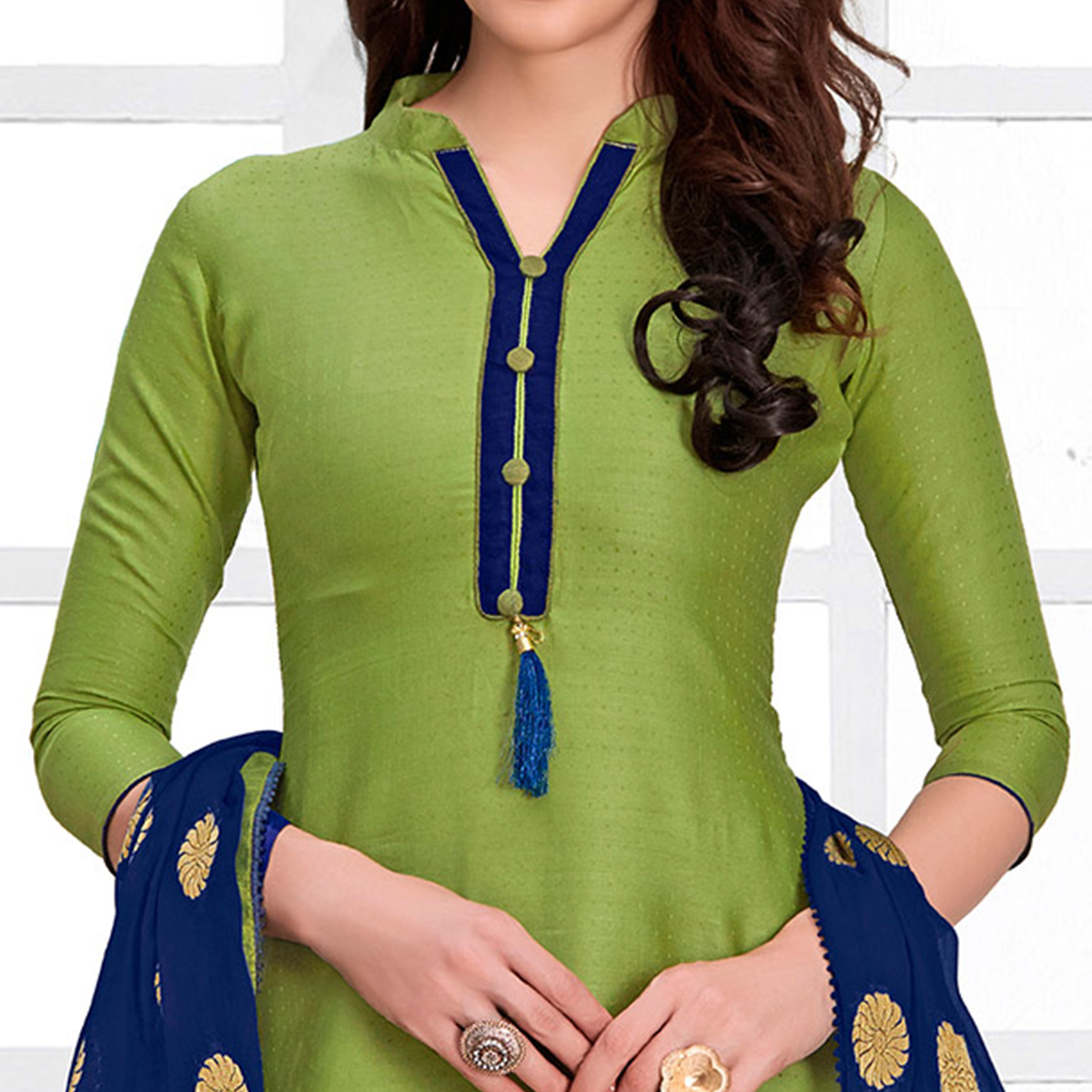 Pristine Green Colored Casual Cotton Suit