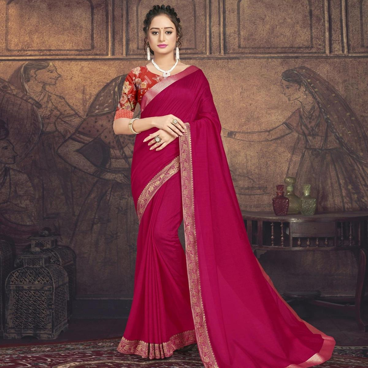 Triveni Pink Colored Chanderi Silk Casual Wear Solid Saree With Blouse Piece
