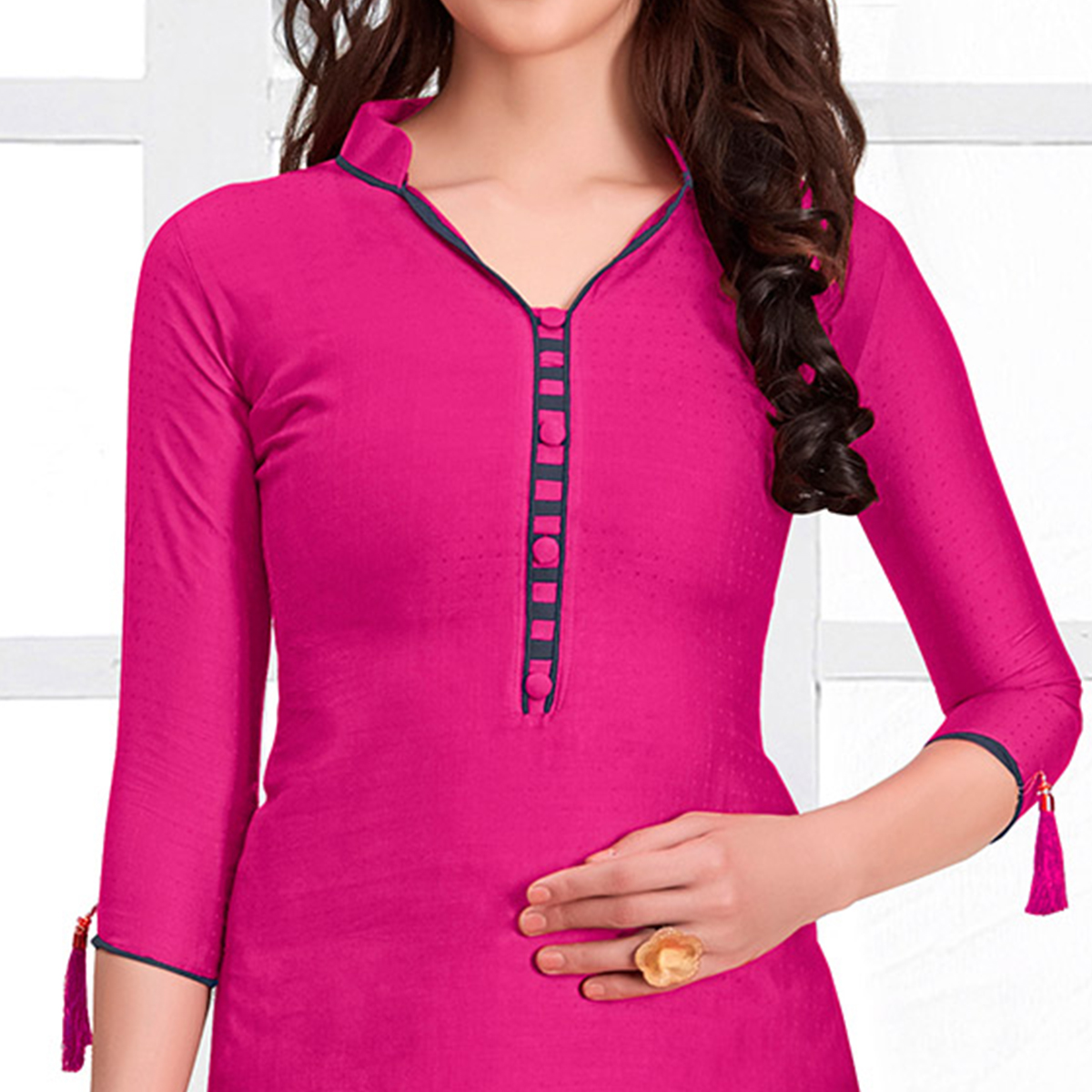 Eye-Catching Pink Colored Casual Cotton Suit