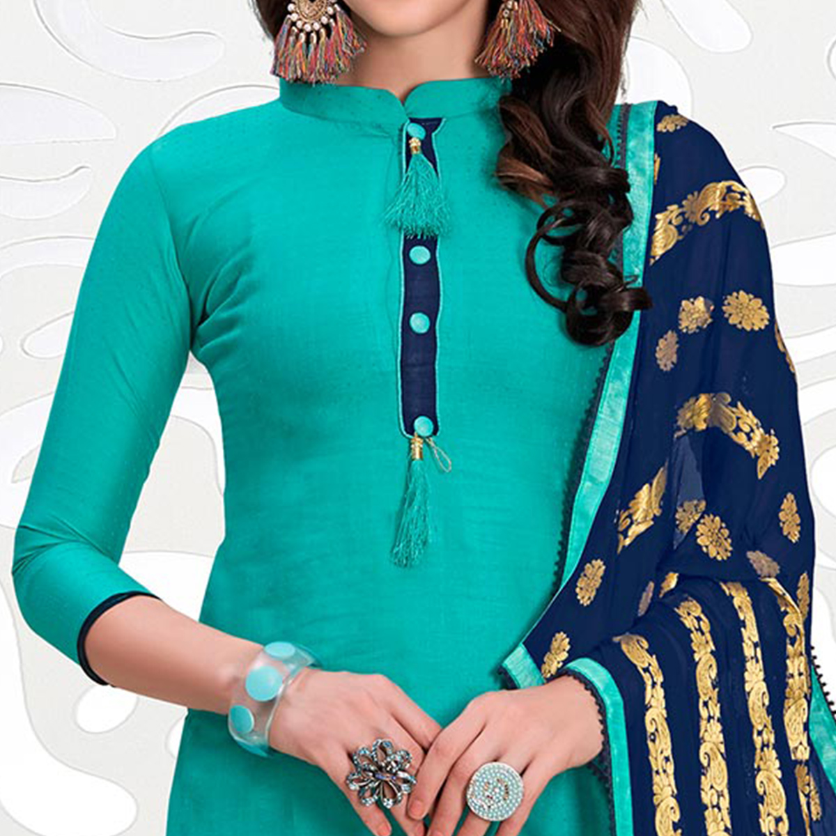 Beautiful Teal Green Colored Casual Cotton Suit
