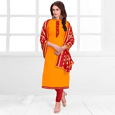 Bright Orange Colored Casual Cotton Suit