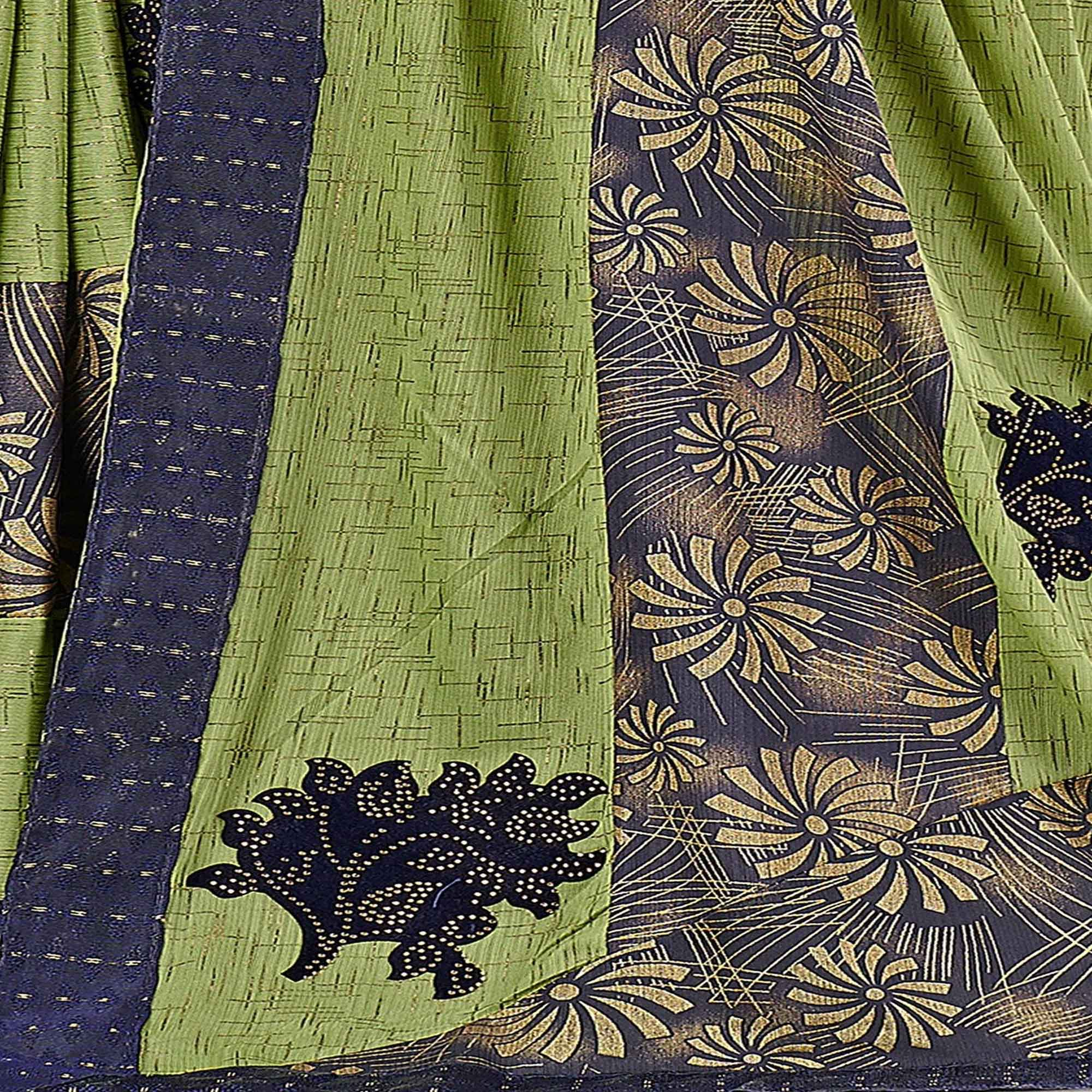 Triveni Green Colored Chiffon Party Wear Foil Print,Stone Work Saree With Blouse Piece