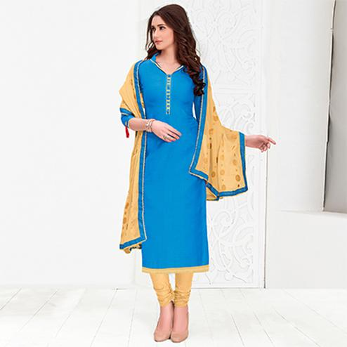 Elegant Sky-Blue Colored Casual Cotton Suit