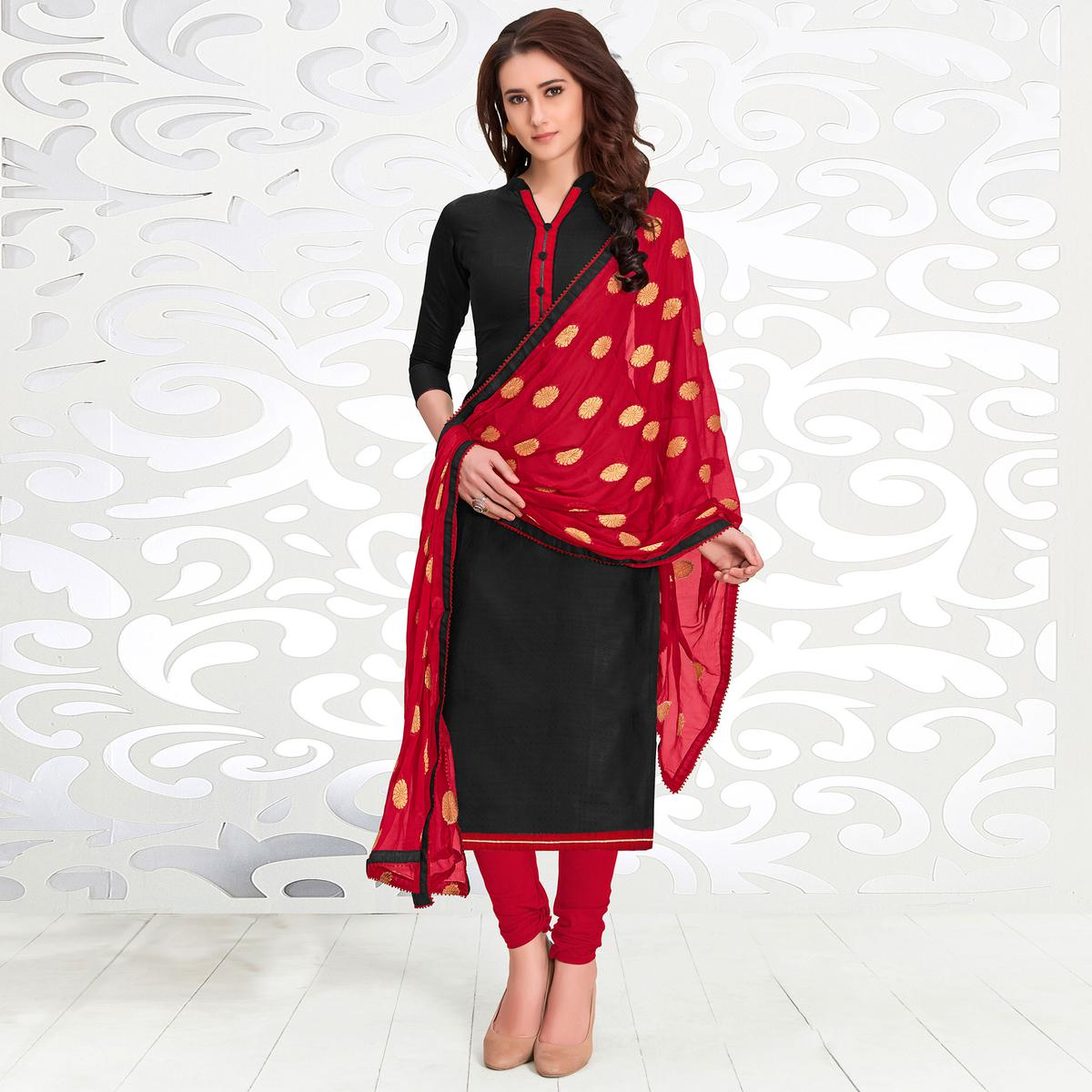 Ethnic Black Colored Casual Cotton Suit