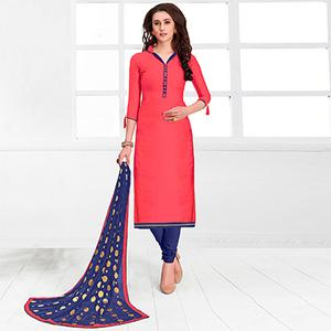 Smart Pink Colored Casual Cotton Suit