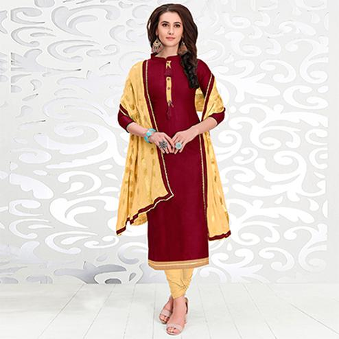 Delightful Maroon Colored Casual Cotton Suit