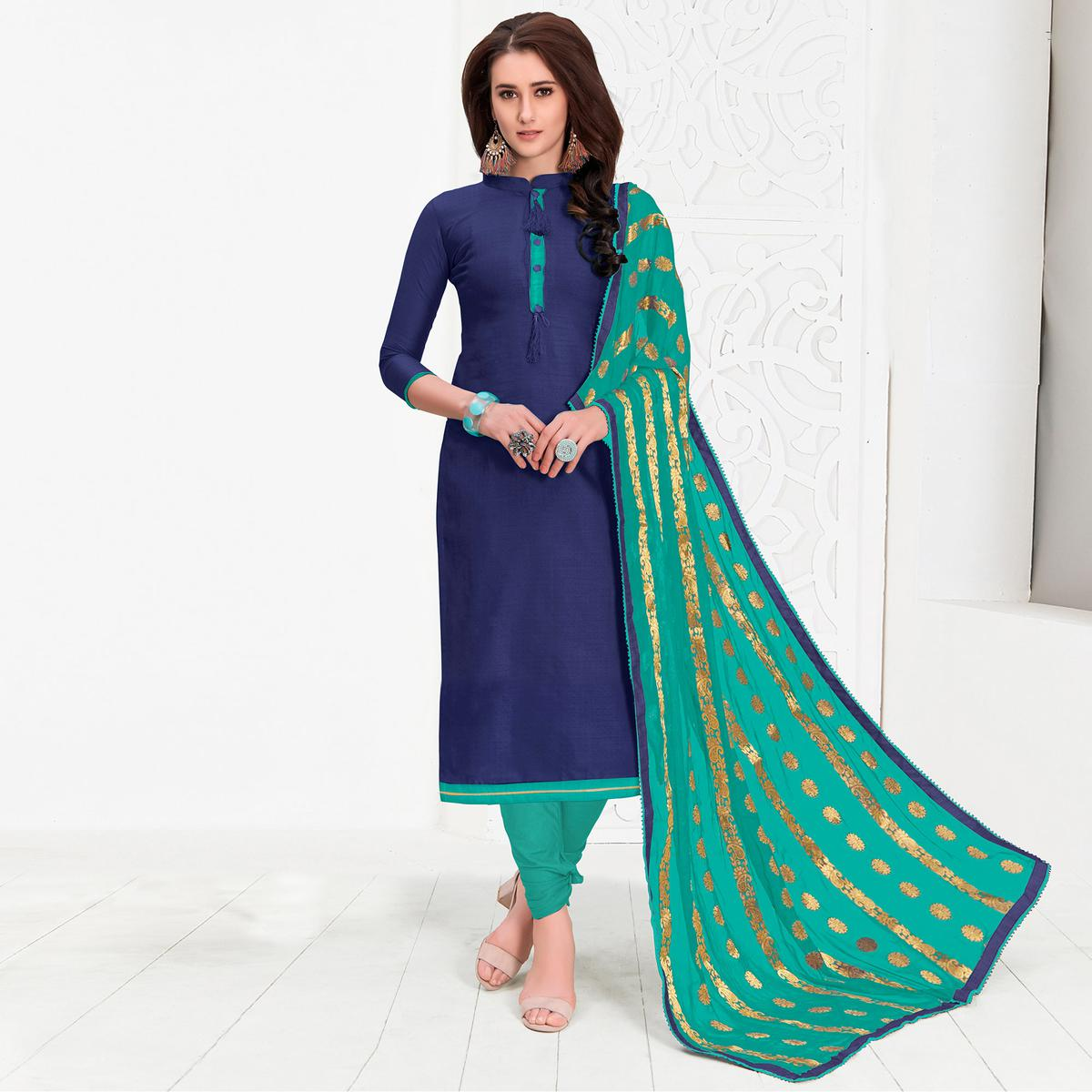 Stunning Blue Colored Casual Cotton Suit