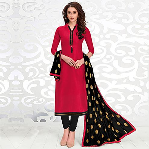 Hot Pink Colored Casual Cotton Suit