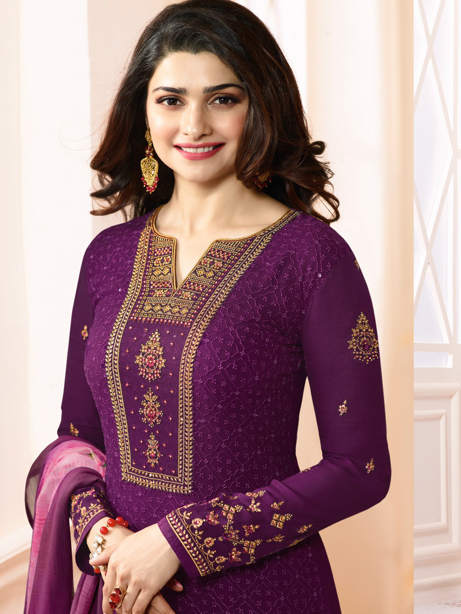 Adorable Purple Colored Embroidered Party Wear Straight Cut Georgette Salwar Suit