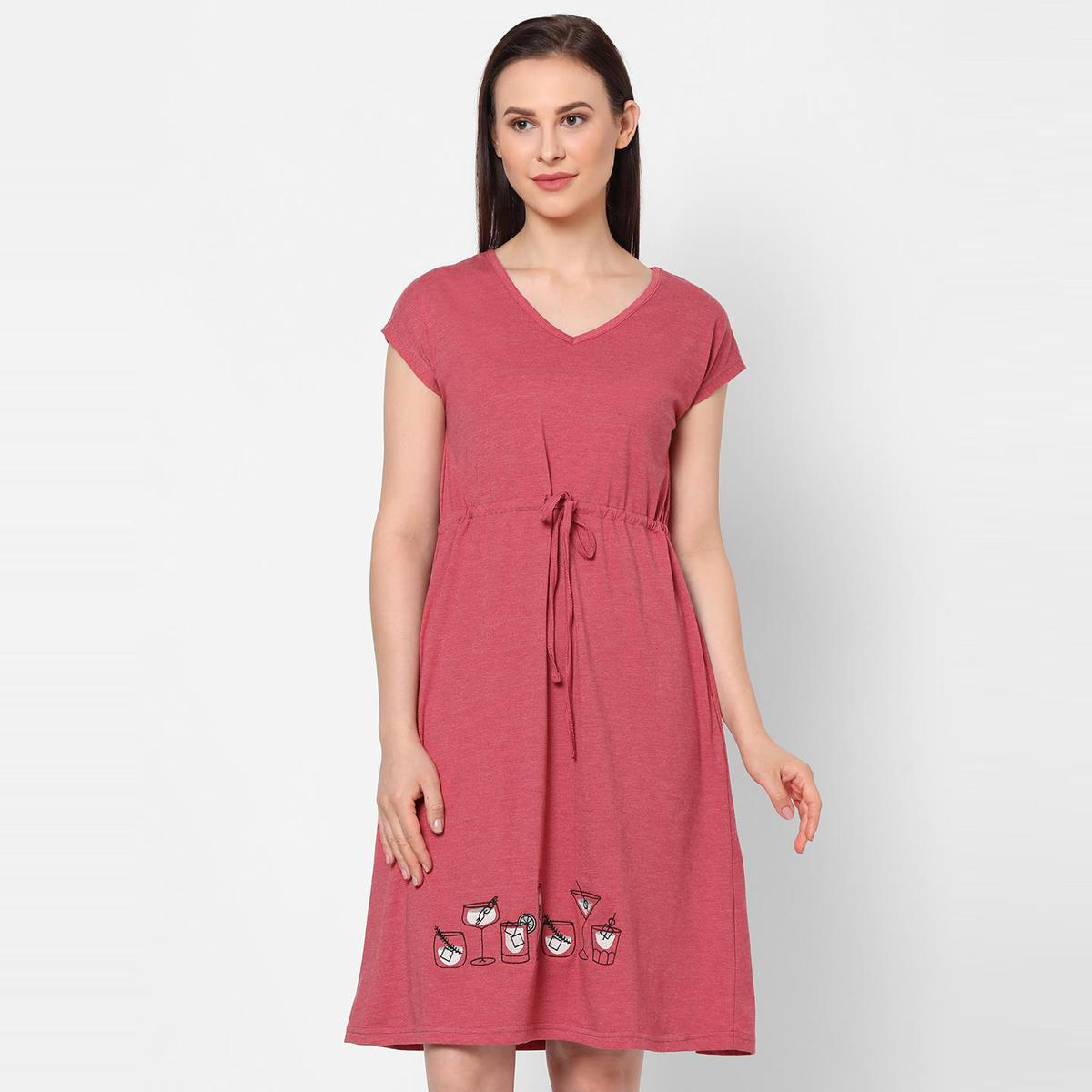 Mystere Paris - Red Colored Cocktail Embroidered Cotton Sleep Dress