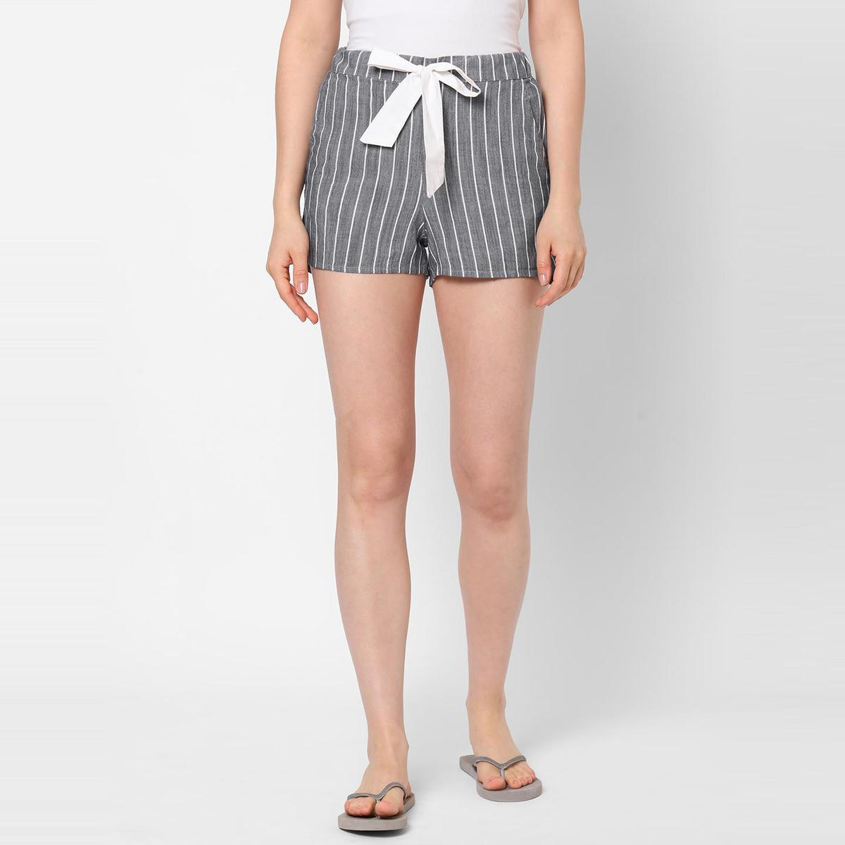 Mystere Paris - Charcoal Grey White Colored Classic Striped Cotton Lounge Shorts