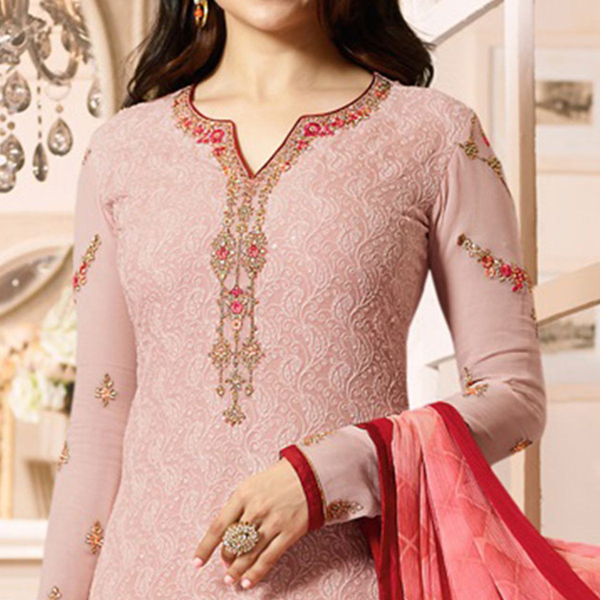 Classy Light Pink Colored Embroidered Party Wear Straight Cut Georgette Salwar Suit