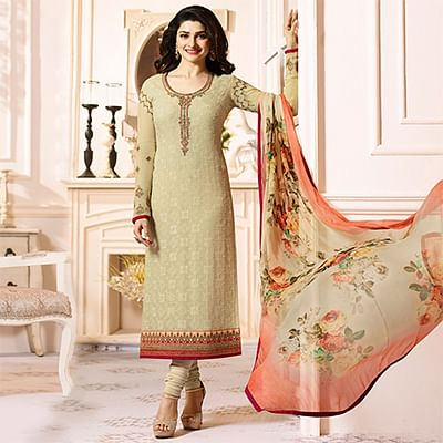 Glorious Beige Colored Embroidered Party Wear Straight Cut Georgette Salwar Suit
