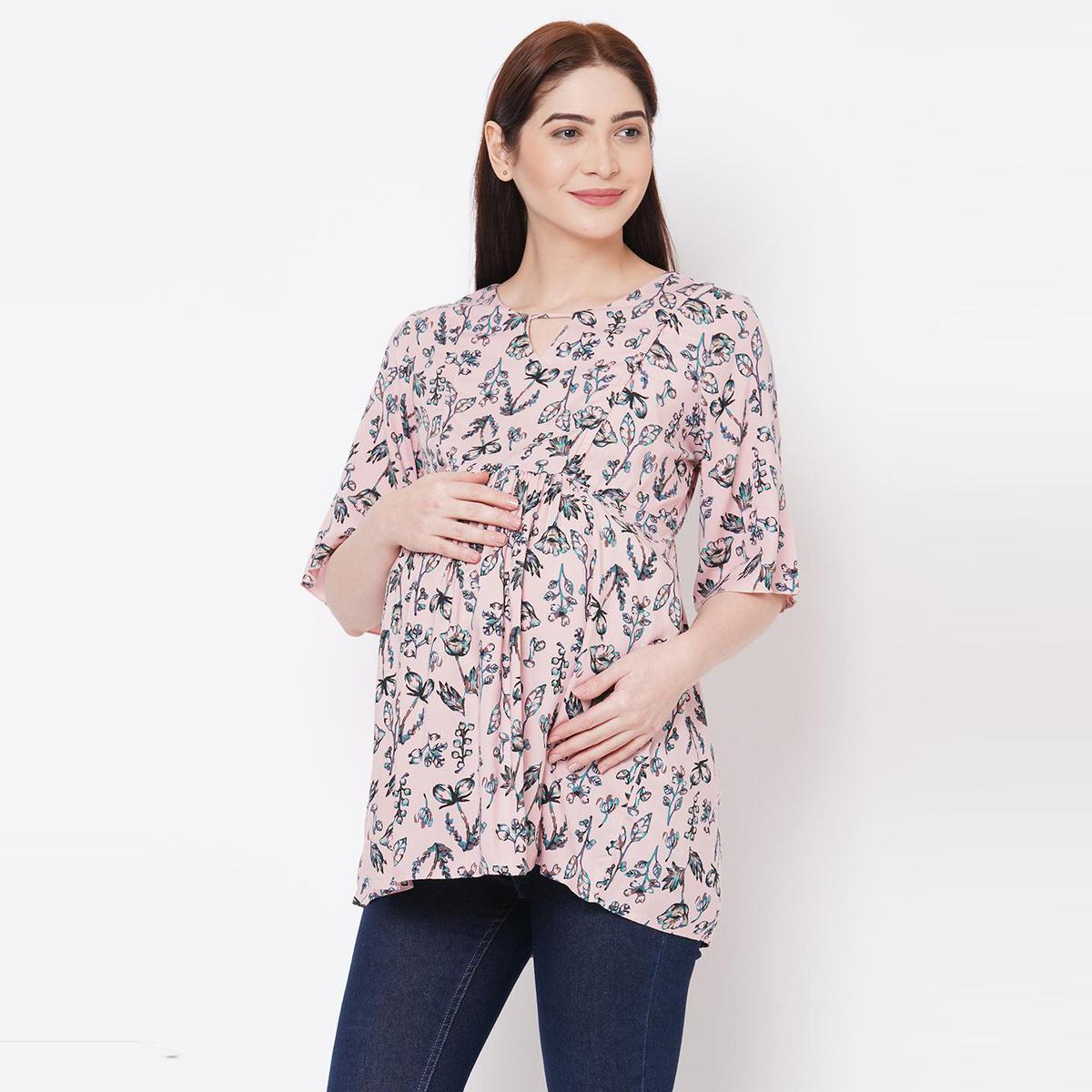 Mystere Paris - Stylish Pink Green Floral Maternity Top