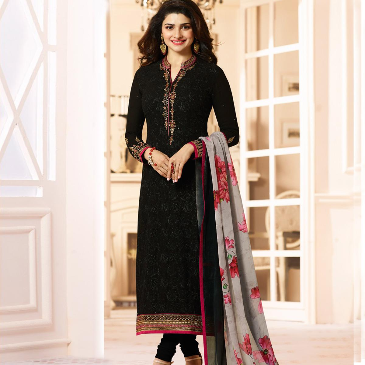 Graceful Black Colored Embroidered Party Wear Straight Cut Georgette Salwar Suit