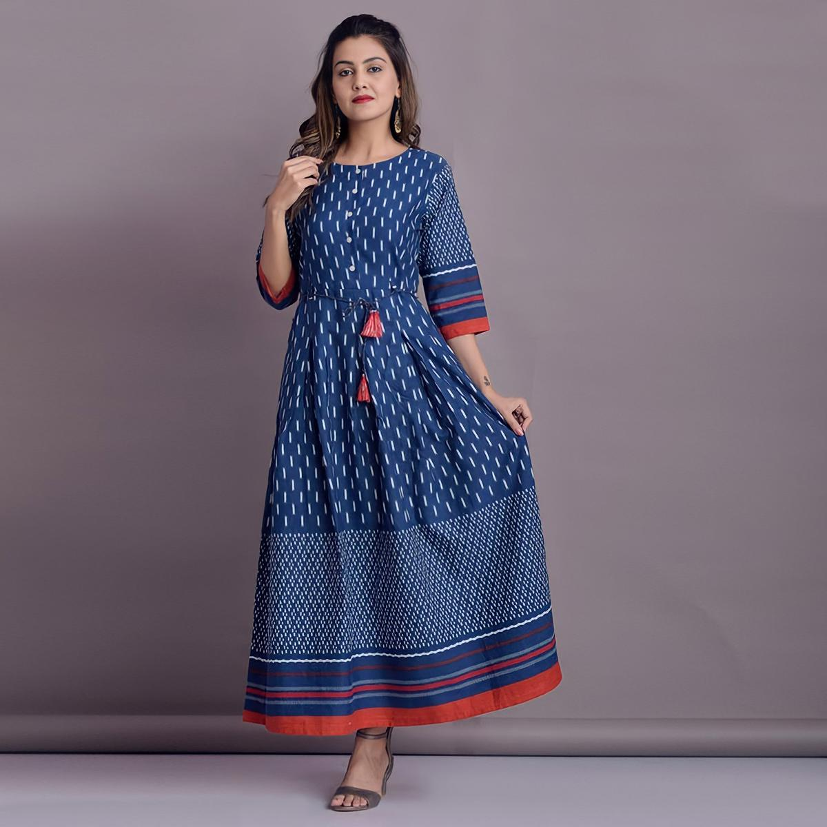 SHIVOM CREATION - Fabulous Design Blue Colored Rayon Gown