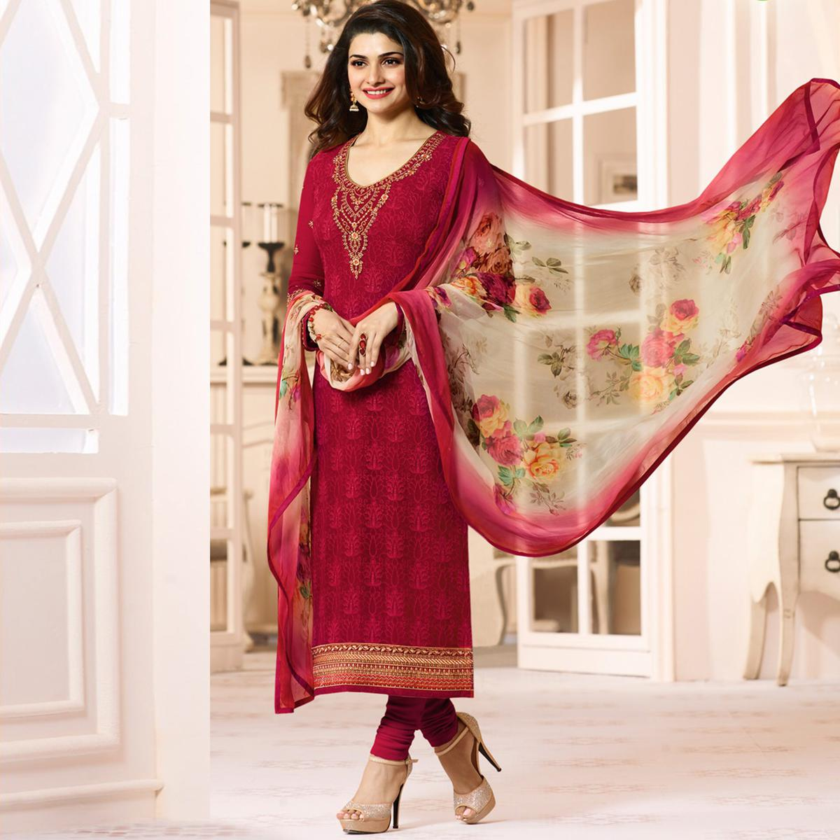 Marvellous Red Colored Embroidered Party Wear Straight Cut Georgette Salwar Suit
