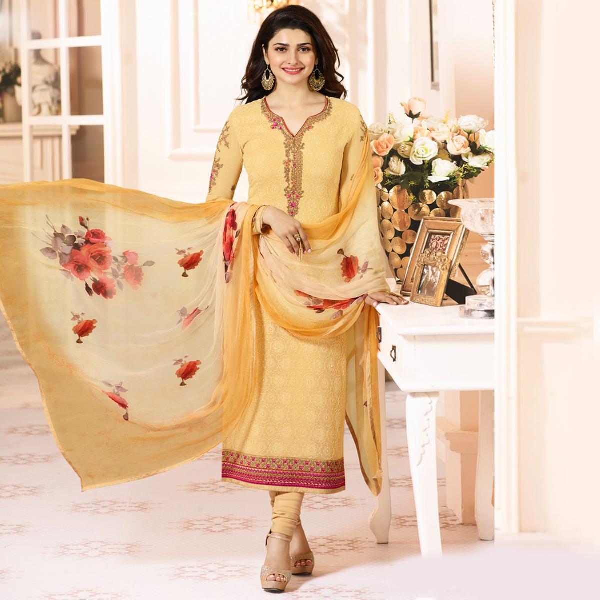 Mesmerising Yellow Colored Embroidered Party Wear Straight Cut Georgette Salwar Suit
