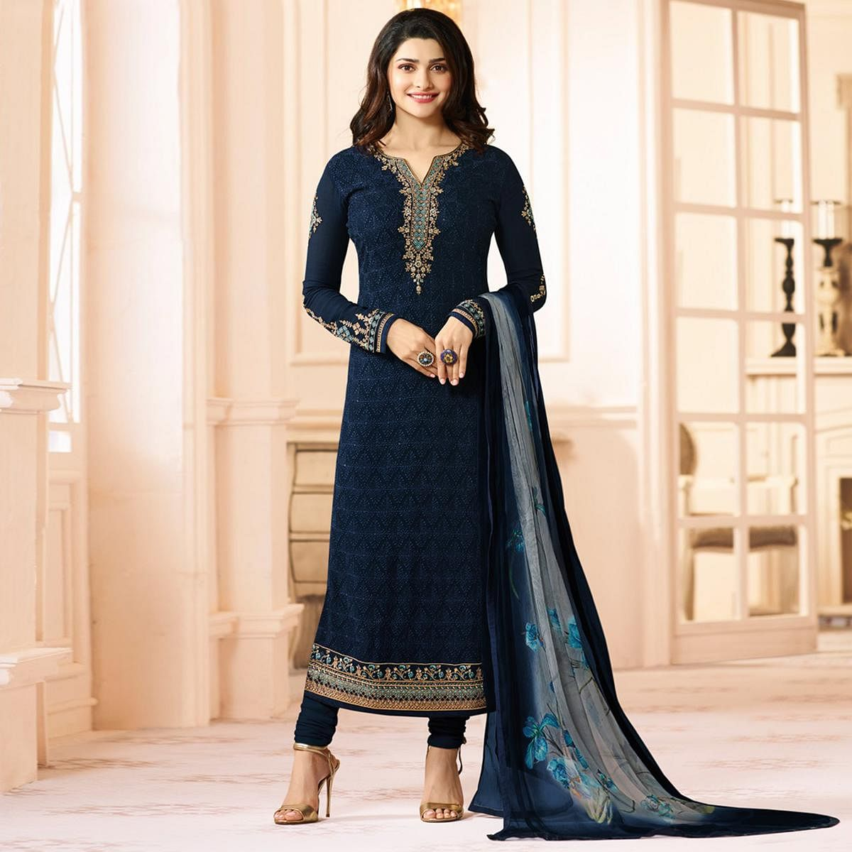 883275baf3 Buy Ravishing Dark Blue Colored Embroidered Party Wear Straight Cut  Georgette Salwar Suit for womens online India, Best Prices, Reviews -  Peachmode