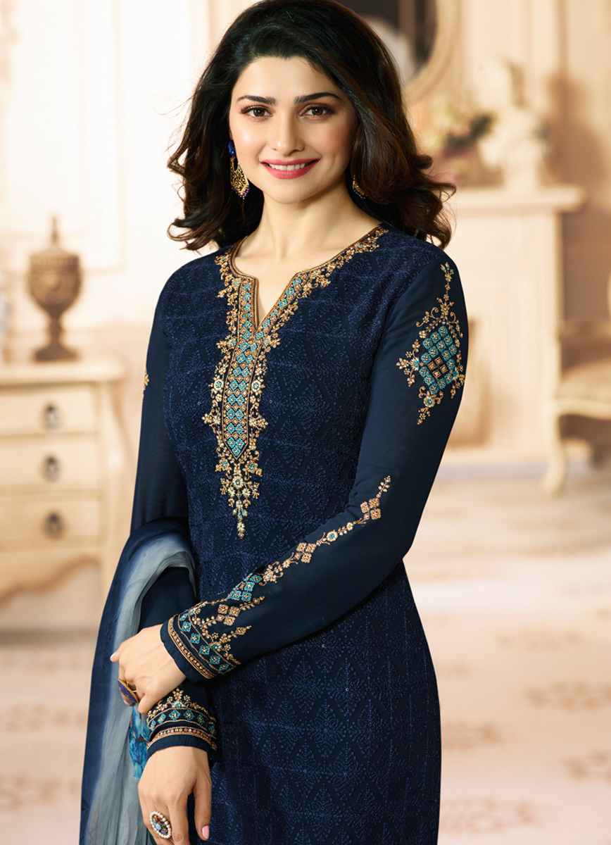 Ravishing Dark Blue Colored Embroidered Party Wear Straight Cut Georgette Salwar Suit